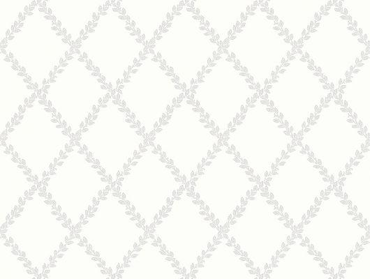 """Заказать обои в гостиную арт. 38607  из коллекции """"Borosan EasyUp® 2020"""" от Borastapeter, Швеция с   рисунком из ромбов в виде растительных веток  светло-серого цвета на белом фоне в интернет-магазине Одизайн в Москве, онлайн оплата, Borosan EasyUp 2020, Обои для гостиной, Обои для кухни"""