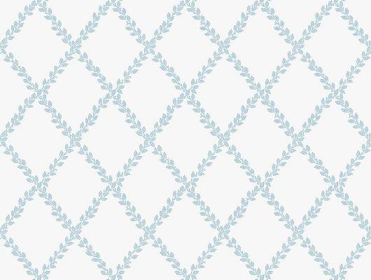 """Приобрести обои в столовую арт. 38609  из коллекции """"Borosan EasyUp® 2020"""" от Borastapeter, Швеция с   рисунком из ромбов в виде растительных веток  голубого цвета на белом фоне в шоу-руме Одизайн в Москве, бесплатная доставка, Borosan EasyUp 2020, Обои для гостиной, Обои для кухни"""
