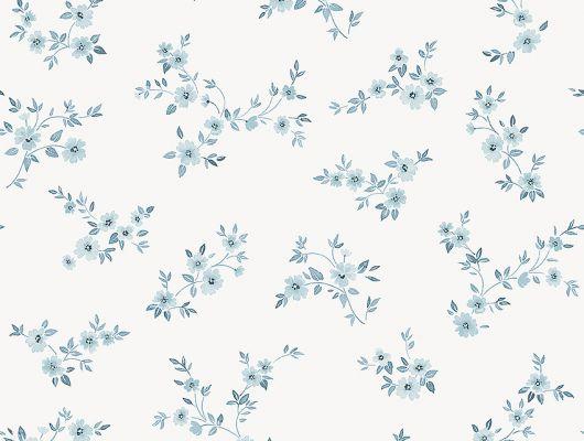 """Шведские обои в столовую арт. 38610  из коллекции """"Borosan EasyUp® 2020"""" от Borastapeter, Швеция с мелким цветочным рисунком  синего цвета на белом фоне в магазине обоев Одизайн в Москве, большой ассортимент, Borosan EasyUp 2020, Обои для гостиной, Обои для кухни, Обои для спальни"""