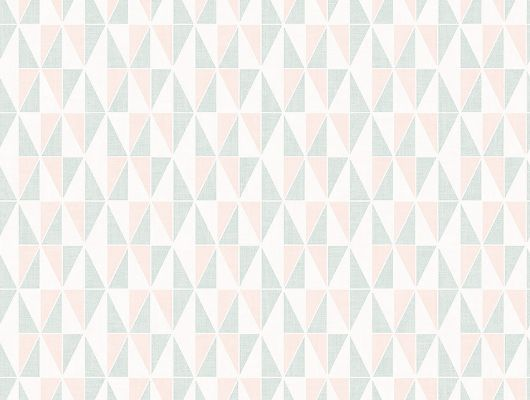"""Обои в гостиную арт. 38634 из коллекции  """"Borosan EasyUp® 2020"""" от Borastapeter с геометрическим орнаментом в оттенках бирюзового и розового выбрать, заказать в салонах Москвы., Borosan EasyUp 2020, Обои для гостиной, Обои для кухни"""