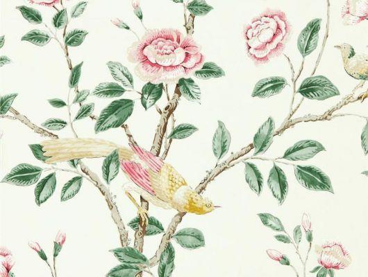 Выбрать дизайнерские обои Andhara арт. 216794 из коллекции Caspian, Sanderson,  Великобритания с изящными пионами,стрекозами и бабочками на кремовом фоне, в каталоге., Caspian, Обои для гостиной, Обои для спальни