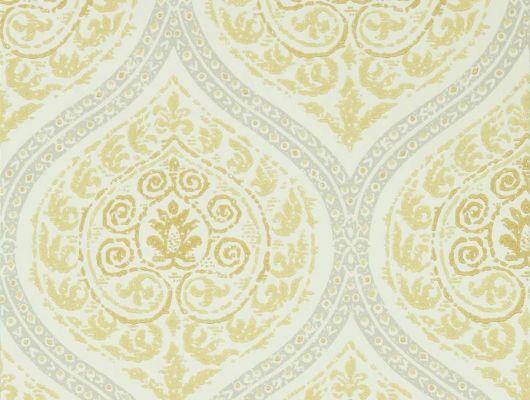 Обои для гостиной Madurai арт. 216756 из коллекции Caspian, Sanderson,в лимонном оттенке наполнены декоративными деталями из дамаска, заказать с доставкой.Фото в интерьере., Caspian, Обои для гостиной, Обои для кабинета