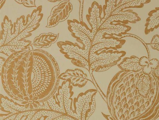 Выбрать обои в гостиную Cantaloupe арт. 216763 из коллекции Caspian, Sanderson,  Великобритания с золотым ботаническим узором на фоне глиняного оттенка в интернет-магазине О-Дизайн., Caspian, Обои для гостиной, Обои для кухни
