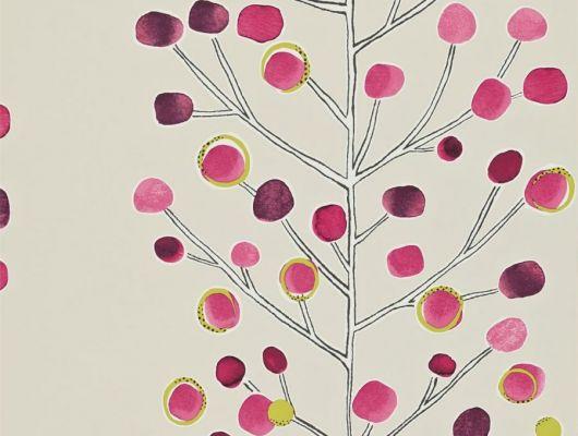 Купить дизайнерские обои в спальню Berry Tree  с ярким ягодным узором из коллекции Esala от Scion в Москве, Esala, Обои для гостиной, Обои для кухни, Обои для спальни