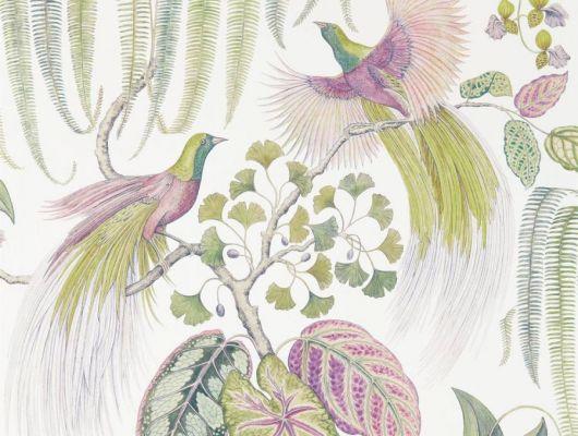 Обои Sanderson коллекция The Glasshouse дизайн Bird of Paradise арт. 216654, The Glasshouse, Обои для гостиной, Обои для спальни, Обои с цветами