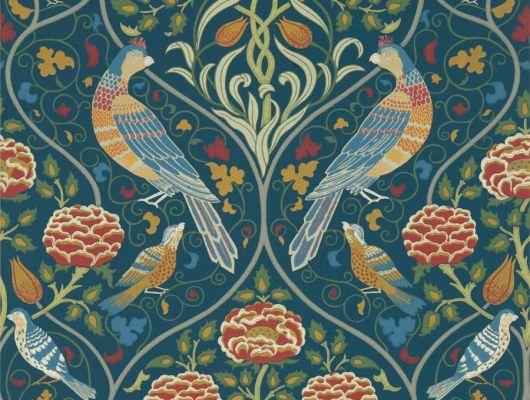 Купить бумажные обои арт. 216686 из коллекции Melsetter от Morris,с птицами и крупным цветочным узором в цвете индиго в салоне О-Дизайн,недорого, Melsetter, Бумажные обои, Обои для гостиной, Обои для кабинета, Обои для спальни