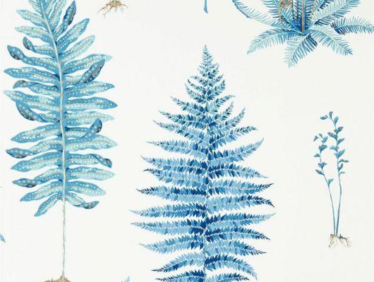 Насыщенный голубой цвет листьев на белом фоне флизелиновых обоев в коллекции The Glasshouse от Sanderson арт.216635 прекрасно подойдут для ремонта гостинной, The Glasshouse