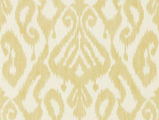 Купить обои для спальни Kasuri арт. 216782 из коллекции Caspian с узором икат в оттенке тмин на светлом фоне, недорого., Caspian, Обои для гостиной, Обои для кухни, Обои для спальни