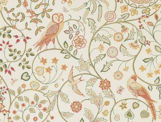 Заказать дизайнерские обои арт. 216705 из коллекции Melsetter от Morris с ярким растительным рисунком и совами в интернет-магазине odesign.ru, Melsetter, Бумажные обои, Обои для гостиной, Обои для кухни, Обои для спальни, Хиты продаж