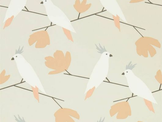 Выбрать обои флизелиновые Love Birds с птицами на бежевом фоне арт. 112221 из коллекции Esala от Scion., Esala, Обои для гостиной, Обои для кухни