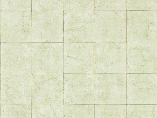 Заказать обои на кухню Piastrella celadon с изображением состаренной плитки цвета морской волны и золотыми швами с оплатой на сайте, Folio, Обои для кабинета, Обои для кухни