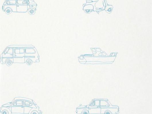 Выбрать детские обои Go Go Retro от Harlequin со схематичным изображением ретро автомобилей, скутеров, фургонов и лодок голубого цвета на белом фоне в интернет-магазине., Book of Little Treasures