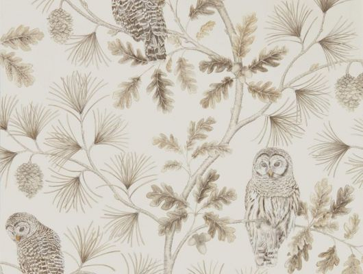Приобрести обои в бежевых оттенках Owlswick арт. 216598 для маленькой квартиры от Sanderson с птицами в шоу-руме в Москве, Elysian, Обои для гостиной, Обои для спальни
