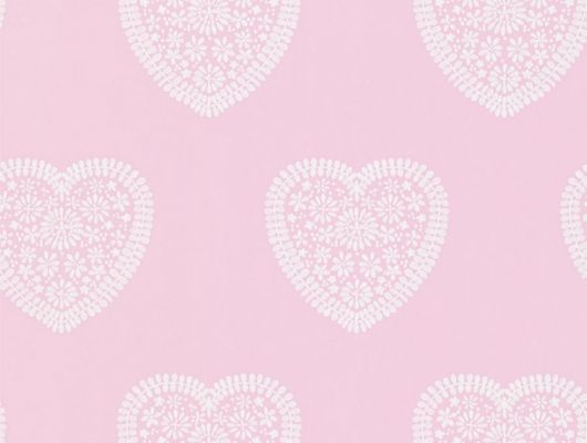 Купить обои для детской Sweet Heart от Harlequin с узором из кружевных белых сердечек на розовом фоне в салонах О-Дизайн., Book of Little Treasures, Обои для кухни