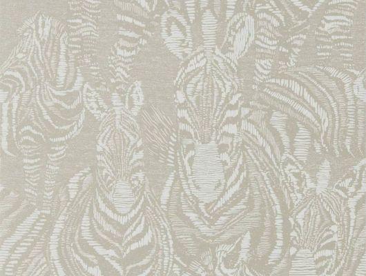 Заказать дизайнерские обои Nirmala арт. 112241 из коллекции Mirador, Harlequin с графичным изображением зебр на серебристом фоне в интернет-магазине., Mirador, Обои для гостиной, Обои для спальни