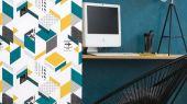 Бумажные обои для подростков с абстрактным геометрическим рисунком в черных, бирюзовых и желтых тонах на белом фоне из коллекции Aura Les Aventures. Найдите подходящие для детей обои в интернет каталоге О-дизайн или в шоу-руме в Москве