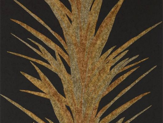Подобрать флизелиновые обои для гостинной с лиственным золотым рисунком на черном фоне  из коллекции The Glasshouse от производителя Sanderson в каталоге, The Glasshouse, Обои для гостиной, Обои для спальни