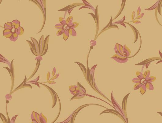 Обои с цветочным узором на осенне-желтом фоне, Arkiv Engblad, Обои для квартиры, Обои для кухни, Обои с цветами, Хиты продаж