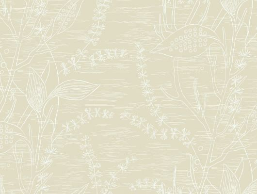 Обои с дизайнерским рисунком, в виде белых контуров цветов на сливочно-желтом фоне, Arkiv Engblad, Дизайнерские обои, Обои для квартиры, Обои для кухни, Хиты продаж