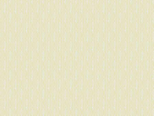 Шведские обои с мелким полосатым рисунком в виде листиков и ягодок на сочном лимонном фоне, Arkiv Engblad, Новинки, Обои для прихожей