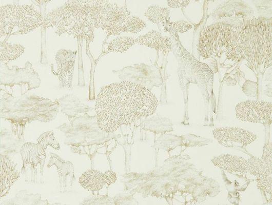 Обои из Великобритании Shamwari арт. 112243, из коллекции Mirador, Harlequin с золотистым изящным изображением животных в саванне в ассортименте салонов ОДизайн., Mirador, Обои для гостиной, Обои для кабинета