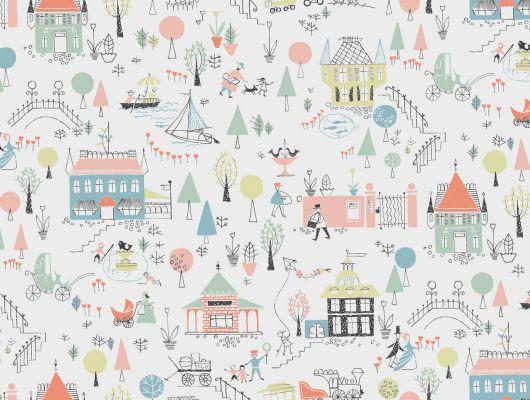 Экологические обои в детскую комнату с разноцветными домаиками в сказочном городке лиллипутов, Arkiv Engblad, Детские обои, Новинки, Обои для квартиры, Обои для кухни