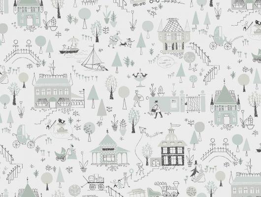 Детские обои с черно белыми домиками маленького городка купить, Arkiv Engblad, Детские обои, Хиты продаж
