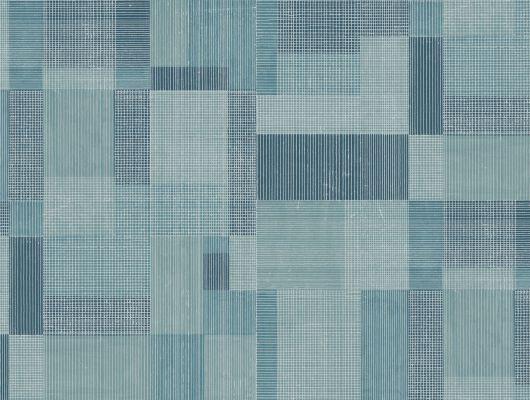 Синие обои с геометрическим рисунком для спальни, Arkiv Engblad, Обои для спальни, Обои с рисунком