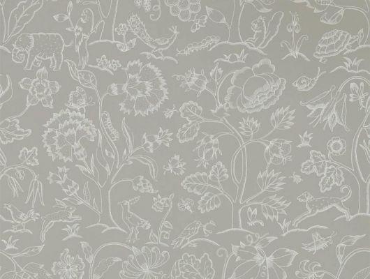 Бумажные обои арт. 216697 из коллекции Melsetter от Morris, Великобритания плотного серого цвета с тонким белым растительным узором использовать для ремонта квартиры., Melsetter, Бумажные обои, Обои для гостиной, Обои для кабинета