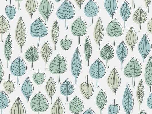 Обои из флизелина с лиственным узоором синего и зеленого фона на белом фоне, Reflections, Архив, Обои для квартиры, Распродажа, Флизелиновые обои
