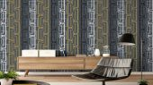 Обои виниловые на флизелиновой основе Fardis GEO NEWTON, для гостиной, с геометрическим рисунком, в оранжевых, белых и черных цветах, купить в Москве, доставка обоев на дом, оплата обоев онлайн, большой ассортимент