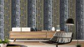 Обои виниловые на флизелиновой основе Fardis GEO NEWTON , для гостиной, с геометрическим рисунком на сером фоне, в черно белых цветах, купить в Москве, доставка обоев на дом, оплата обоев онлайн, большой ассортимент