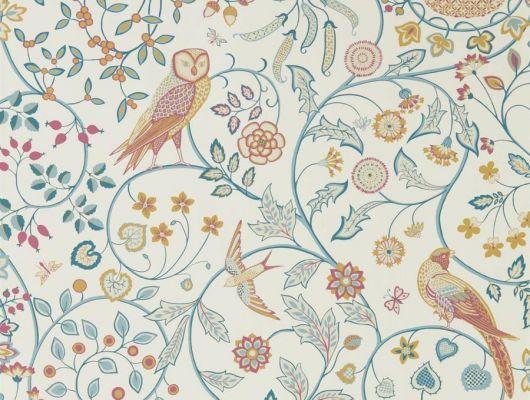 Купить бумажные обои для детской арт. 216703 из коллекции Melsetter от Morris с изображение сов,недорого., Melsetter, Бумажные обои, Обои для гостиной, Обои для кухни, Обои для спальни