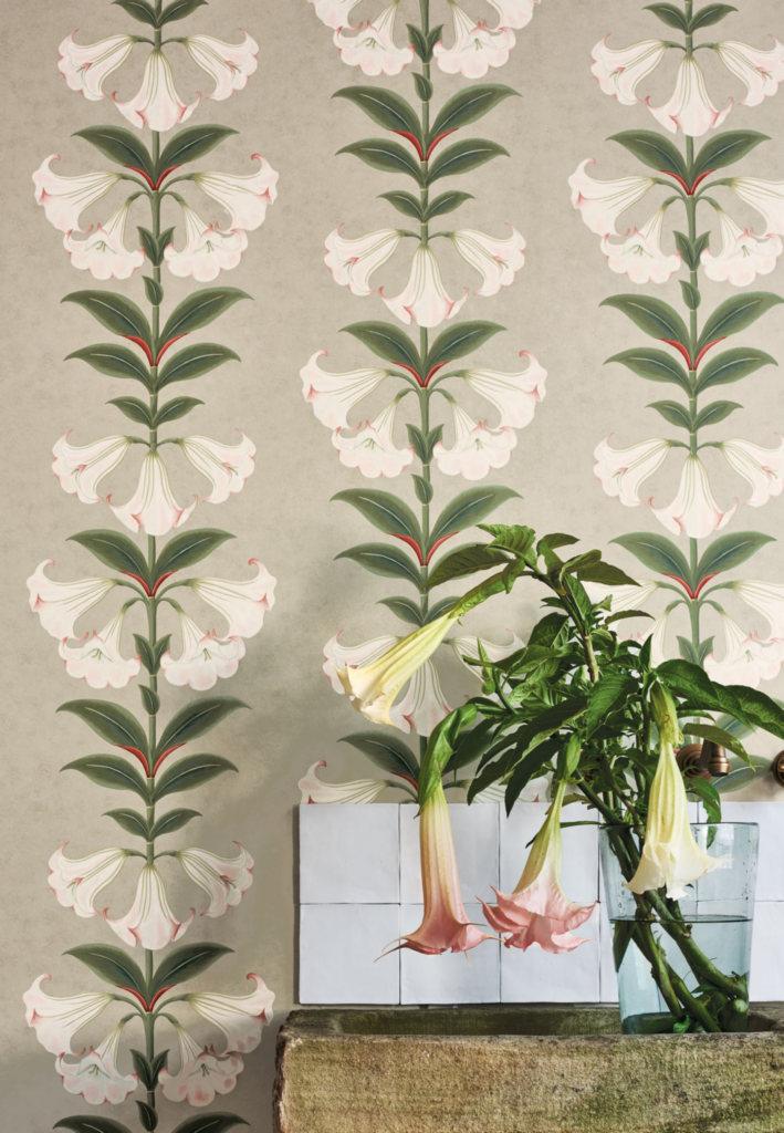 Флизелиновые обои пр-во Великобритания коллекция Seville от Cole & Son, с рисунком под названием Angel's Trumpet растительный рисунок в стиле ботанической иллюстрации  в светлых тонах. Обои для гостиной, обои для спальни, обои для кухни. Большой ассортимент, бесплатная доставка, купить обои