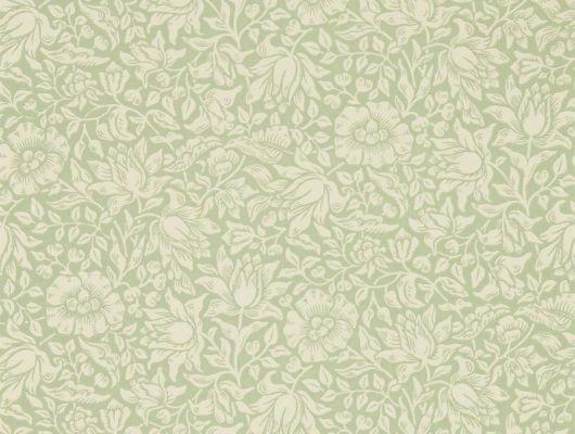 Выбрать дизайнерские обои для спальни арт. 216678 из коллекции Melsetter от Morris, Великобритания с элегантным цветочным узором в цвете зеленое яблоко в шоу-руме Одизайн., Melsetter, Бумажные обои, Обои для гостиной, Обои для спальни