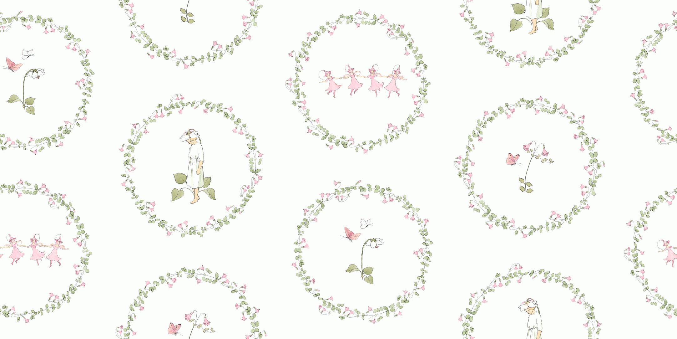 Обои для детской комнаты с милым рисунком цветочных детей купить с доставкой на дом