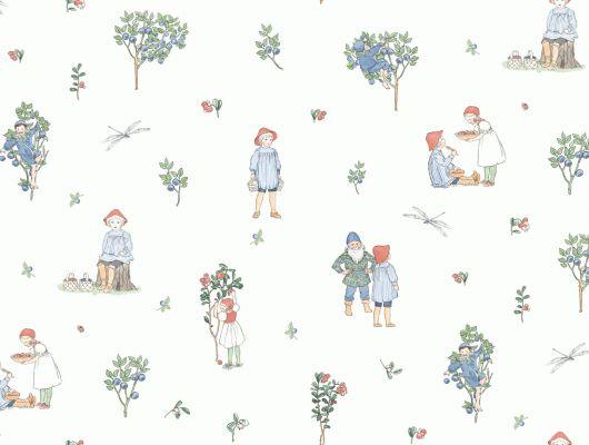 Обои для детей с иллюстрациями Эльзы Бесков по мотивам книги «Черничный дедка» заказать с доставкой до подъезда, Scandinavian Designers Mini, Детские обои, Дизайнерские обои, Новинки, Обои для квартиры