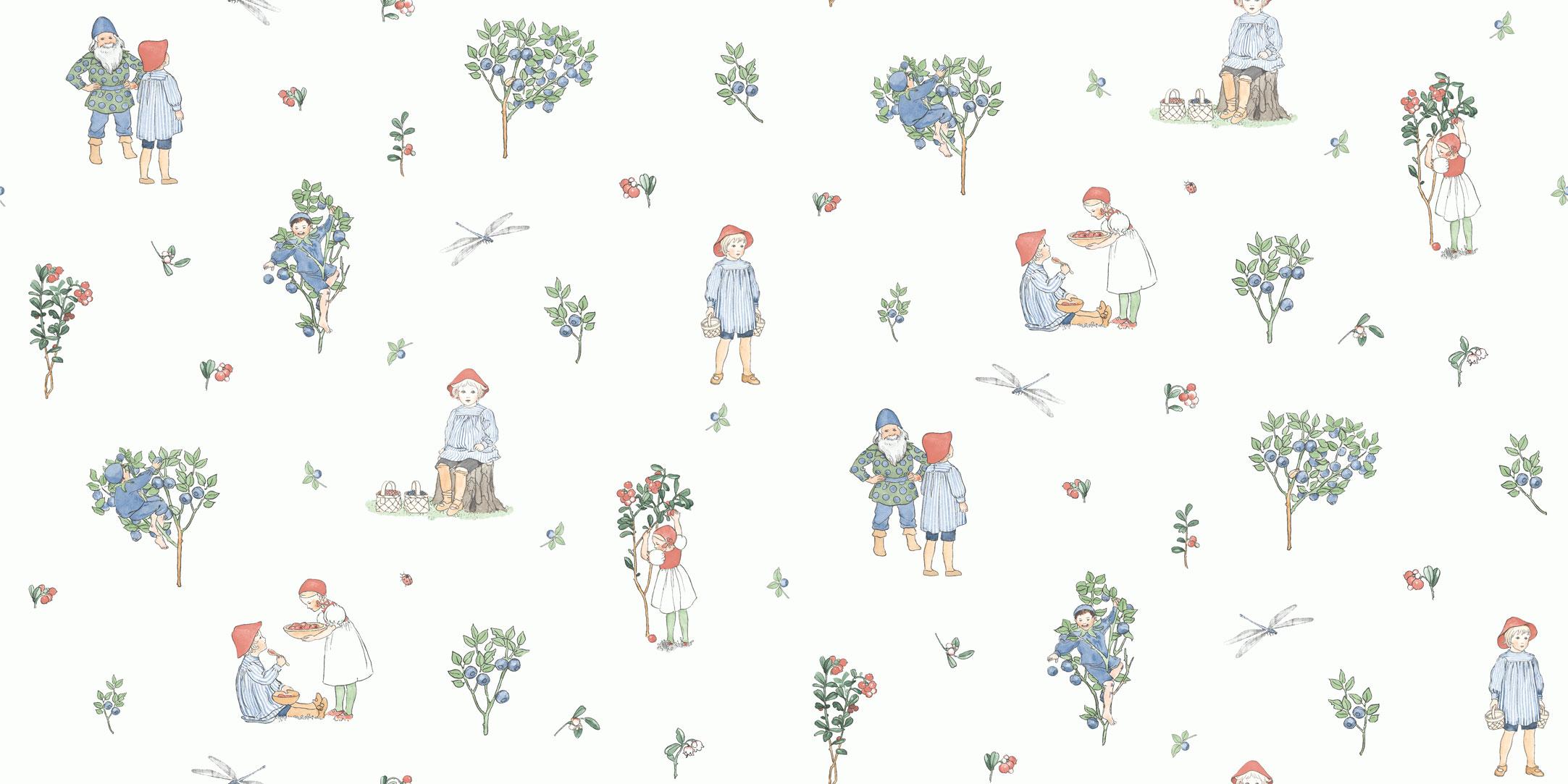Обои для детей с иллюстрациями Эльзы Бесков по мотивам книги «Черничный дедка» заказать с доставкой до подъезда