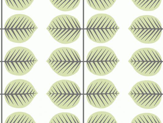 Обои в коридор из детской коллекции Scandinavian designers mini с зелеными листьями на белом фоне, Scandinavian Designers Mini, Детские обои, Обои для прихожей, Хиты продаж