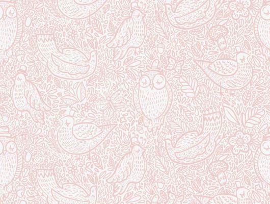 Дизайнерские обои для детей с розовыми спящими птицами приятелями, Scandinavian Designers Mini, Детские обои, Дизайнерские обои, Обои для квартиры, Хиты продаж