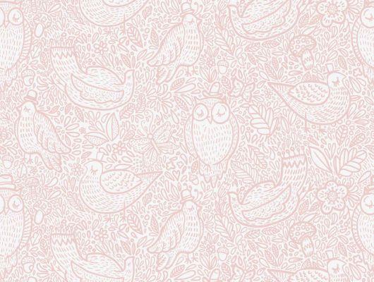 """Обои Borastapeter """"Scandinavian Designers Mini"""".Детские обои с растительным орнаментом и изображением животных в розовых тонах. Купить в Москве с доставкой., Scandinavian Designers Mini, Архив, Детские обои"""