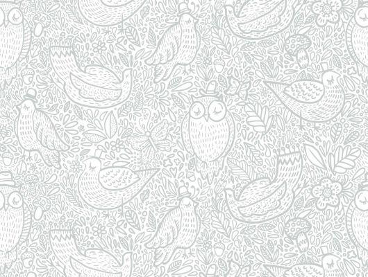 Светлые обои для гостиной с детским рисунком из спящих птичек друзей, Scandinavian Designers Mini, Детские обои, Дизайнерские обои, Новинки, Обои для гостиной, Обои для квартиры