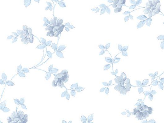 Обои бумажные с клеевой основой Aura  ,коллекция  Little England III,арт.PP35506. Голубые цветы.Цветочный узор на светлом фоне .Растительный орнамент .Дизайнерские обои. Обои в интерьере, Little England III, Обои для гостиной, Обои для кухни, Обои для спальни