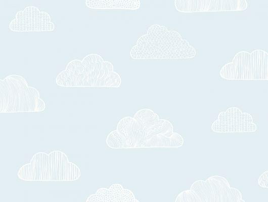Воздушные обои для мальчуковой детской комнаты с белыми облачками на голубом фоне, где купить, Scandinavian Designers Mini, Детские обои, Обои для спальни, Хиты продаж