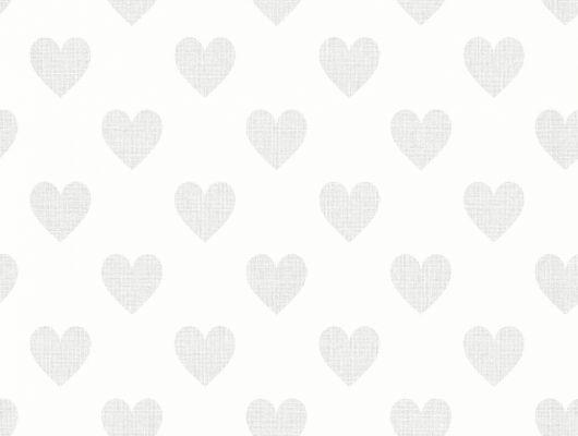 Обои с детским рисунком для гостиной с серыми сердечками на белом фоне Москва, Scandinavian Designers Mini, Детские обои, Новинки, Обои для гостиной
