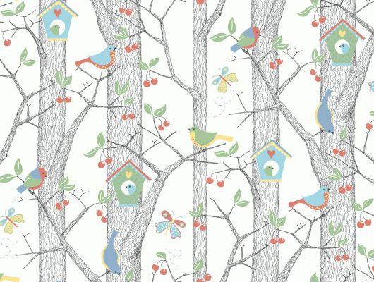 Детские обои для стен Cherry Friends Borastapeter Scandinavian Designers Mini.С птичками. Заказать с доставкой. оплата при получении. Недорого., Scandinavian Designers Mini, Архив, Детские обои