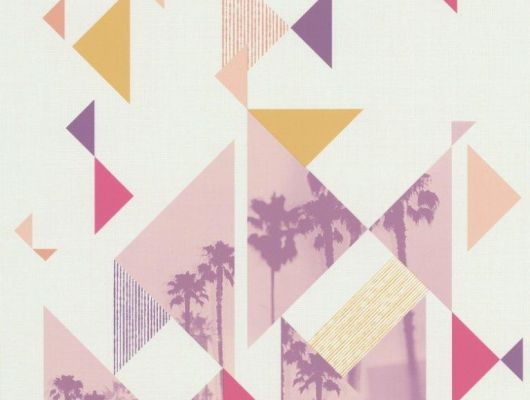Купить обои бумажные Aura Les Aventures,арт. 51165003A.Заказть в интернет-магазин с доставкой. Обои с спальню. Обои для подростка. Обои с пальмами. Геометрический рисунок, Les Aventures