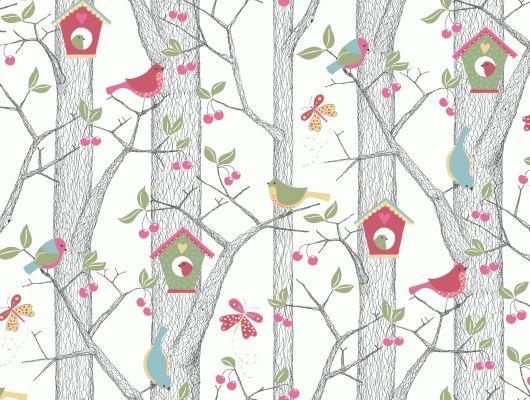Моющиеся обои для детей с веселым рисунком из птичек, скворечников и розовых наливных вишен, заказать с доставкой на дом, Scandinavian Designers Mini, Детские обои, Дизайнерские обои, Моющиеся обои, Обои для квартиры, Хиты продаж