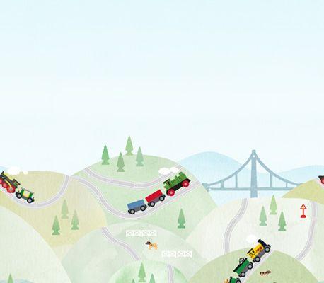Фотопанно с легендарной железной дорогой от компании BRIO купить в Москве, Scandinavian Designers Mini, Детские фотообои, Фотообои, Хиты продаж