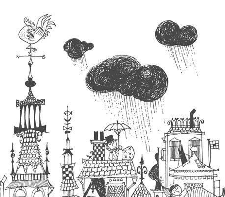 Фотопанно выполненное в черно-белых цветах, по мотивам сказки Даниель Деппско, Scandinavian Designers Mini, Детские фотообои, Новинки, Фотообои